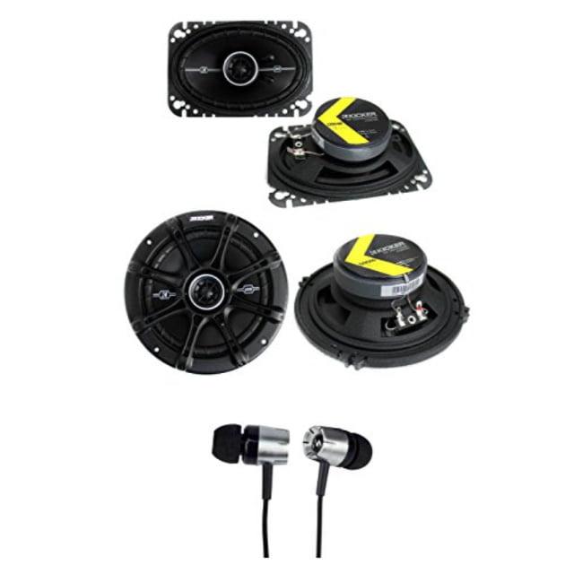 """2) kicker 41dsc464 4x6"""" + 2) 41dsc654 6.5"""" 240w car coaxial speakers + earbuds"""