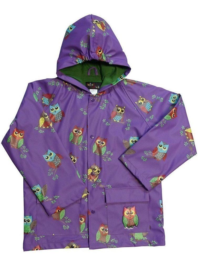 Little Girls Purple Owls Rain Coat 4T
