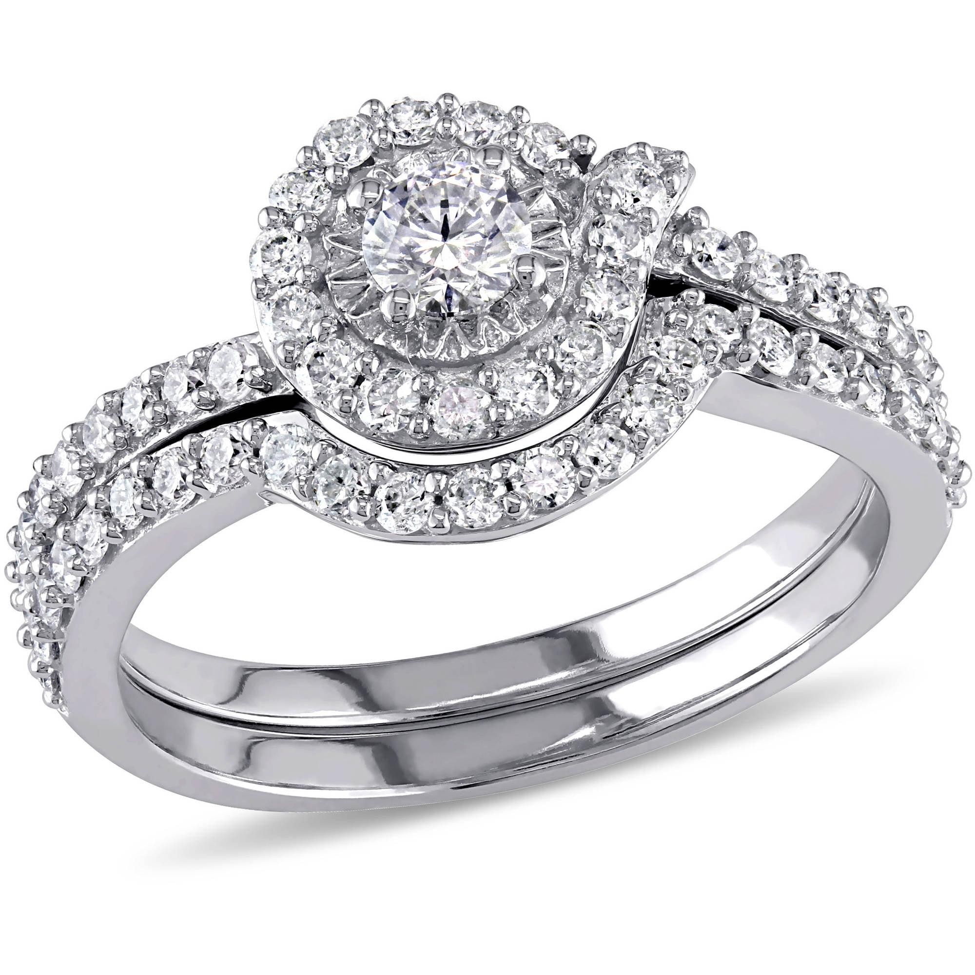 Miabella 3 4 Carat T.G.W. Diamond 10kt White Gold Halo Bridal Set by Miabella