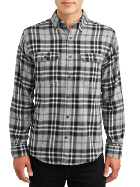 George Men's and Big Men's Long Sleeve Super Soft Flannel Shirt, up to size 2XLT