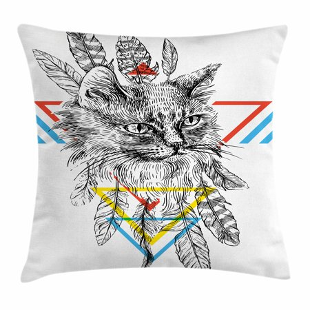 Feather Throw Pillow Cushion Cover, Ink Sketch Drawing Style Cat Portrait with Geometric Elements Triangles Boho Animal, Decorative Square Accent Pillow Case, 18 X 18 Inches, Multicolor, by Ambesonne](Geometric Portrait)