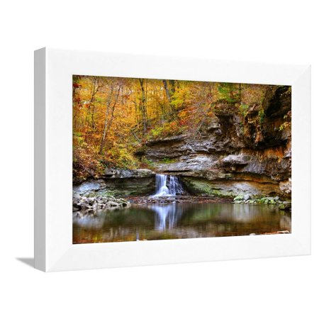 Autumn waterfall in McCormics Creek State Park, Indiana, USA Framed Print Wall Art By Anna (Miller Park Framed)