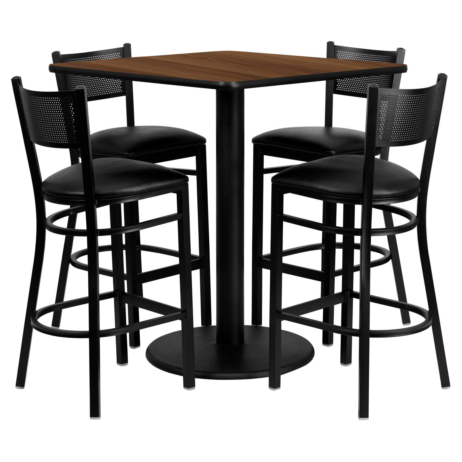 Flash Furniture 36'' Square Walnut Laminate Table Set with 4 Grid Back Metal Barstools, Black Vinyl Seat