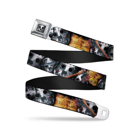FRIDAY THE 13th/WELCOME TO CAMP CRYSTAL LAKE/Jason Mask3 Stacked/Axe Webbing - Seatbelt Belt X-Large (Ax Men Belt)