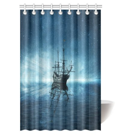 MYPOP Nautical Ocean Sailboat Decor Collection Shower Curtain, A Ghost Pirate Ship on Dark Sea with Starry Night Sky and Water Reflection Bathroom Decor Set with Hooks, 48 X 72 - Pirate Bathroom Decor