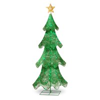 National Tree Green Tree with Green LED Lights Indoor/Outdoor