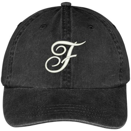 Trendy Apparel Shop Letter F Script Monogram Font Embroidered Washed Cotton Cap - Monogram Script Font