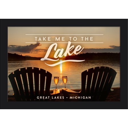 Great Lakes, Michigan - Take Me to the Lake Sentiment - Sunset View - Lantern Press Photography (18x12 Giclee Art Print, Gallery Framed, Black Wood)