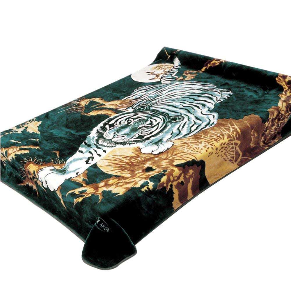 Korean Solaron Super Thick Heavy Weight Ultra Silky Soft Mink Heavy Duty Reversible Blanket bed comforters bedspreads bedding comforter King or Queen(Queen, 71 Tiger Green)