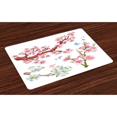 Floral Placemats Set of 4 Collection Flowering Branches Colorful Spring Garden Theme Seasonal Art Print, Washable Fabric Place Mats for Dining Room Kitchen Table Decor,Pink Brown Green, by Ambesonne