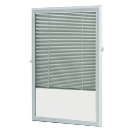 Wide Slat (ODL White Cordless Add On Enclosed Aluminum Blinds with 1/2 in. Slats, for 22 in. Wide x 36 in. Length Door)