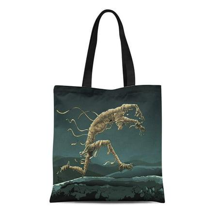 LADDKE Canvas Tote Bag Halloween Mummy Runs Through the Desert Night Egypt Horror Reusable Shoulder Grocery Shopping Bags Handbag](Run 3 Halloween Horror Nights)