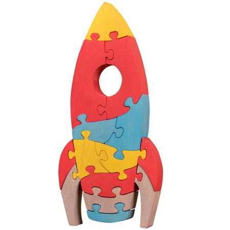 Oxemize Thick Wooden Jigsaw Puzzles for Toddlers Kids 2 3 4 5 Years Old, Developmental Toys for Boys, Rocket, 14 (Hairstyles For 8 Year Olds With Thick Hair)