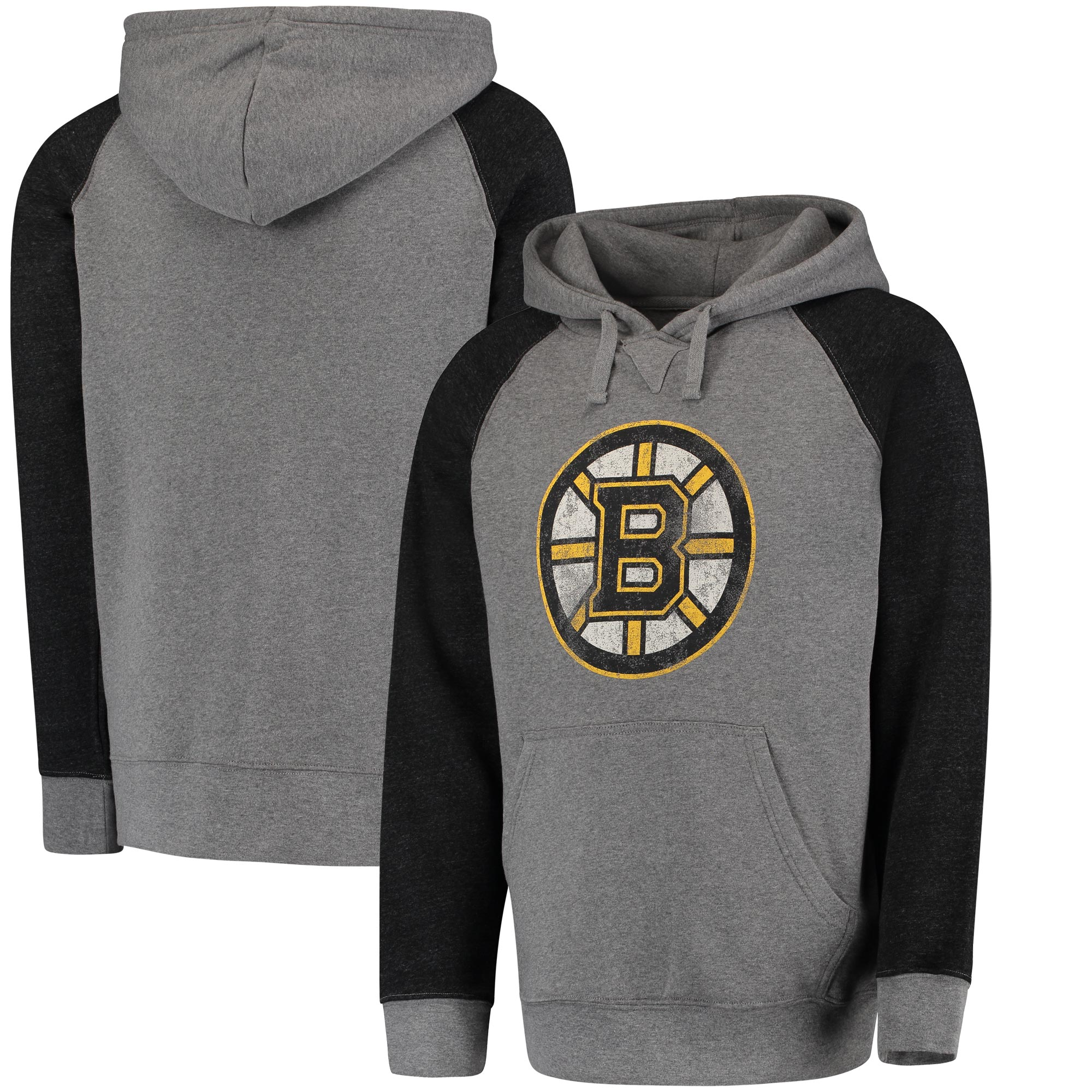 Boston Bruins Distressed Primary Logo Raglan Tri-Blend Pullover Hoodie - Gray/Black