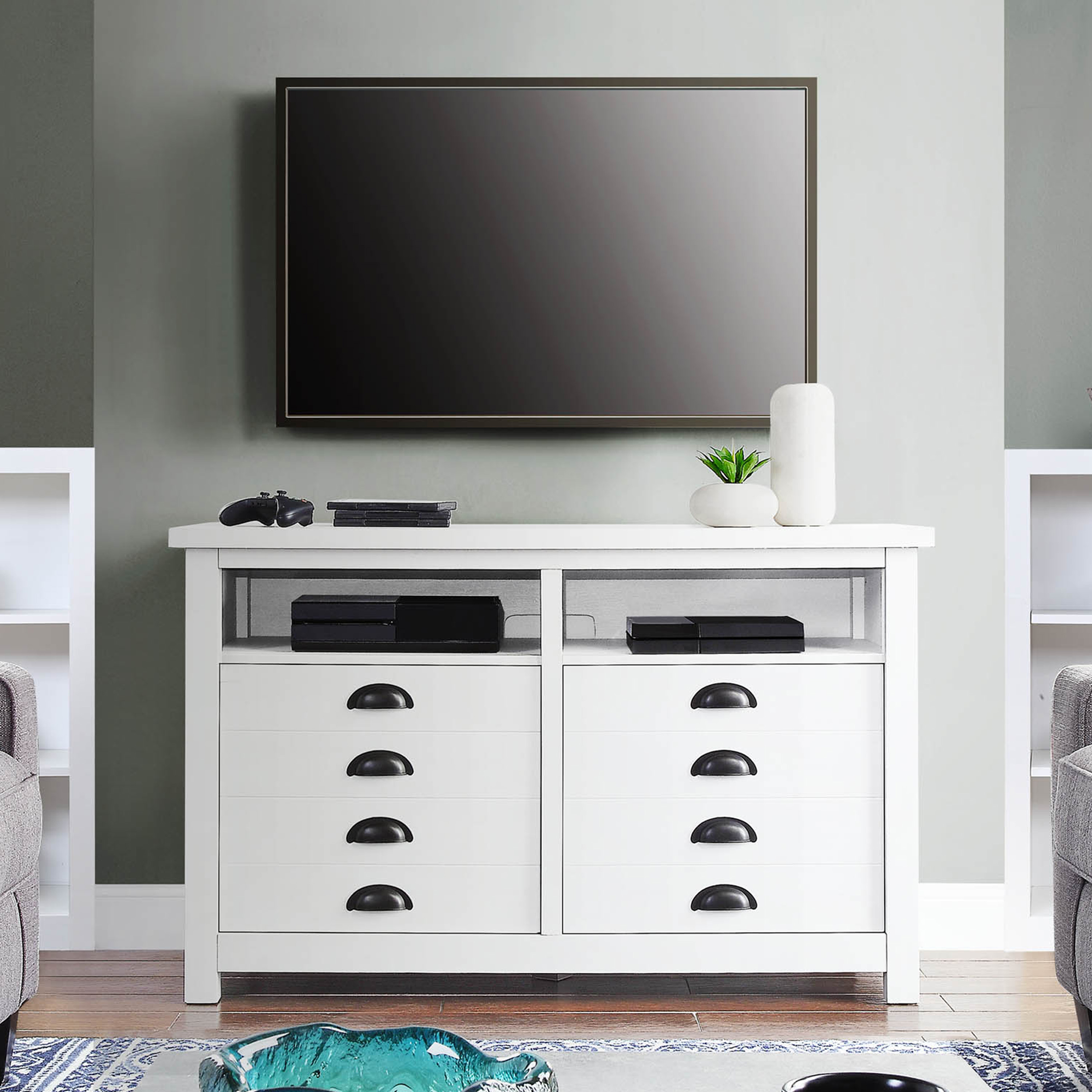 Better Homes Gardens Granary Modern Farmhouse Tv Stand For Tvs Up To 55 White Walmart Com Walmart Com