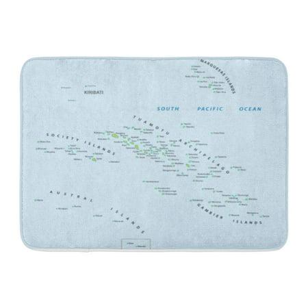 GODPOK Marquesas Tahiti French Polynesia Map Society Pacific Rug Doormat Bath Mat 23.6x15.7 inch