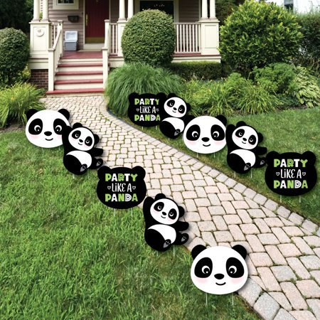 Party Like a Panda Bear - Lawn Decorations - Outdoor Baby Shower or Birthday Party Yard Decorations-10 Ct (Panda Birthday)