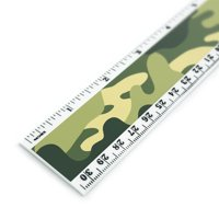 Green Camouflage Pattern 12 Inch Standard and Metric Plastic Ruler
