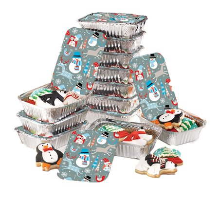"Christmas Food Foil Containers with Festive Lids – Rectangle Aluminum Containers, Set of 24 – Ideal for Baking, Gifting and Storing Holiday Food, Treats, Leftovers and Cookies – Tins Measure 7"" x 5"" - Christmas Cookie Gift Boxes"