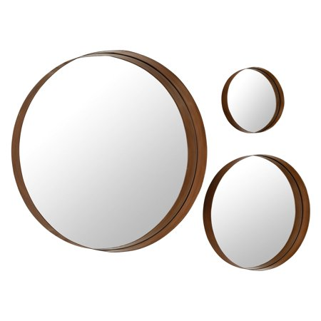 Walker Edison Banded Round Copper Wall Mirrors - Set of (Round Copper Framed Mirror)