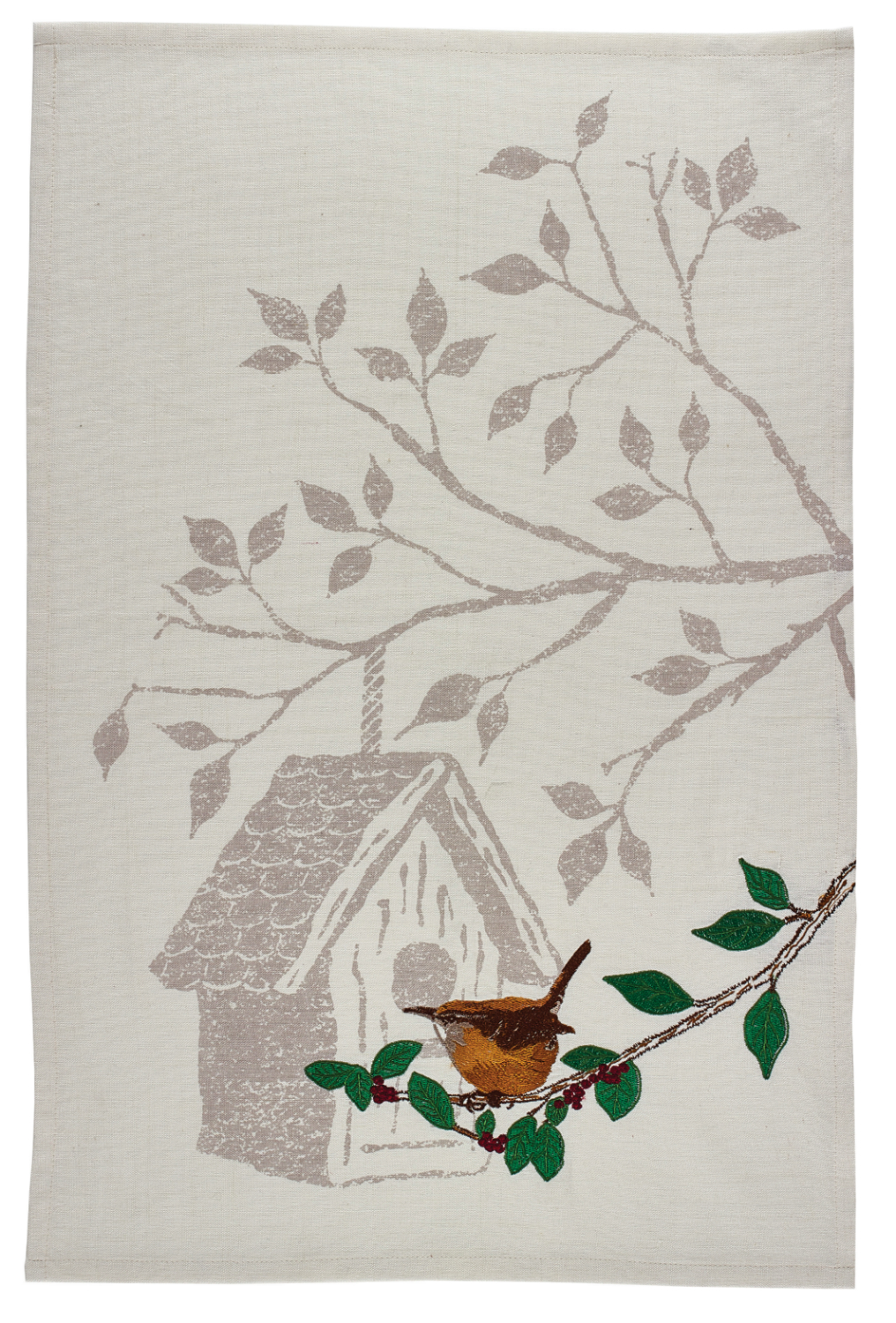 Backyard Wren and Birdhouse Embroidered Kitchen Dish Towel by Park Designs