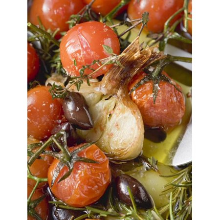 Fried Cherry Tomatoes with Garlic and Olives Print Wall -