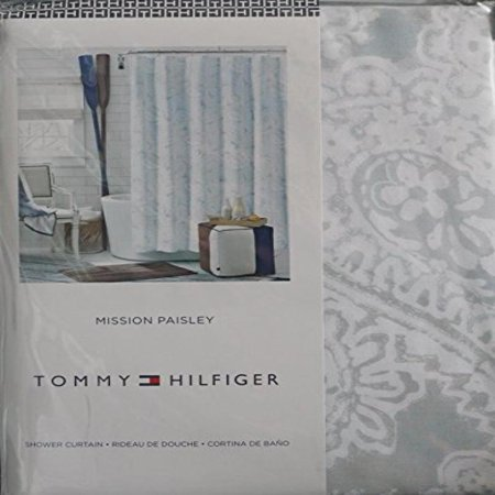 Tommy Hilfiger Fabric Shower Curtain Mission Paisley Gray