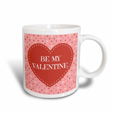 Design 24 Ounce Teapot - 3dRose Be My Valentine, polka dot design background, Ceramic Mug, 15-ounce