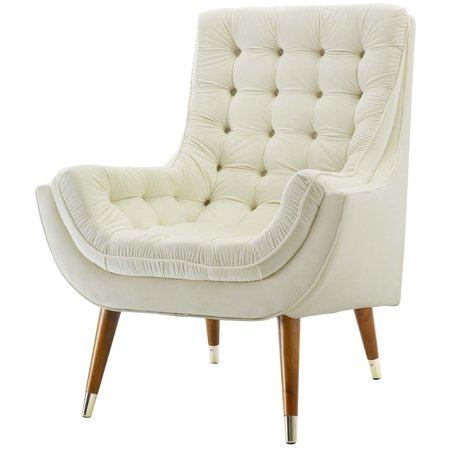 Brilliant Modern Contemporary Urban Design Living Room Lounge Club Lobby Tufted Accent Chair Velvet Fabric Ivory White Ibusinesslaw Wood Chair Design Ideas Ibusinesslaworg