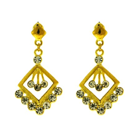 Gold-Tone Diamond Shaped Dangle Earrings For Women 10E4212