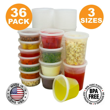 Food Storage Containers with Lids, Round Plastic Deli Cups, US Made, Assorted 8 16 32 oz Cup Pint Quart Size, Leak Proof Airtight, Microwave & Dishwasher Safe, Stackable, Reusable, White [36 Pack]
