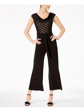 CONNECTED Womens Black Drape Neck Eyelash Tie Sleeveless Cropped Jumpsuit Petites  Size: 14