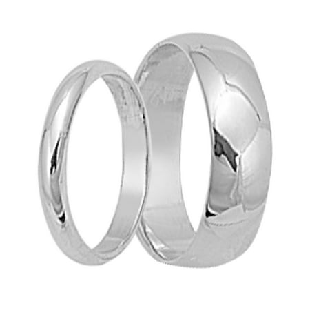 His and Hers Round Sterling Silver Wedding Band Set Matching Wedding Rings for Him and Her (5/12)