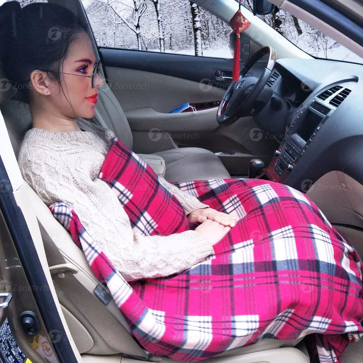 72603526ff Zone Tech Car Heated Travel Blanket – Plaid 12V Automotive Comfortable Heating  Car Seat Blanket Great for Summer - Walmart.com