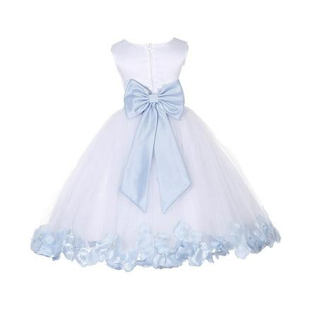 Ekidsbridal Wedding Pageant Rose Petals White Tulle Flower Girl Dress Toddler Junior Bridesmaid Recital Easter Holiday Gown Birthday Girl Dress 302T ice blue 6-9 (Flower Girl Petals)