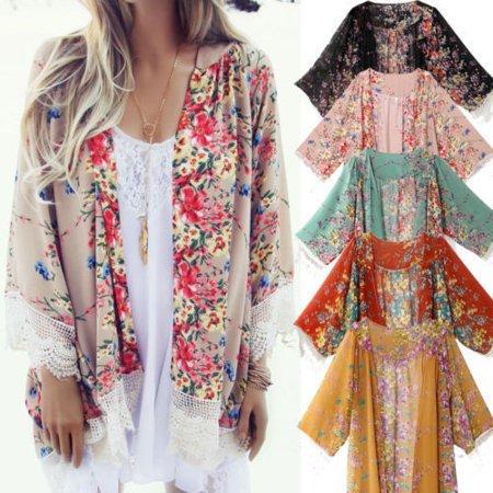 Women Vintage Floral Printed Boho Hippie Chiffon Kimono Coat Cape Jacket Shawl - Hippy Vest