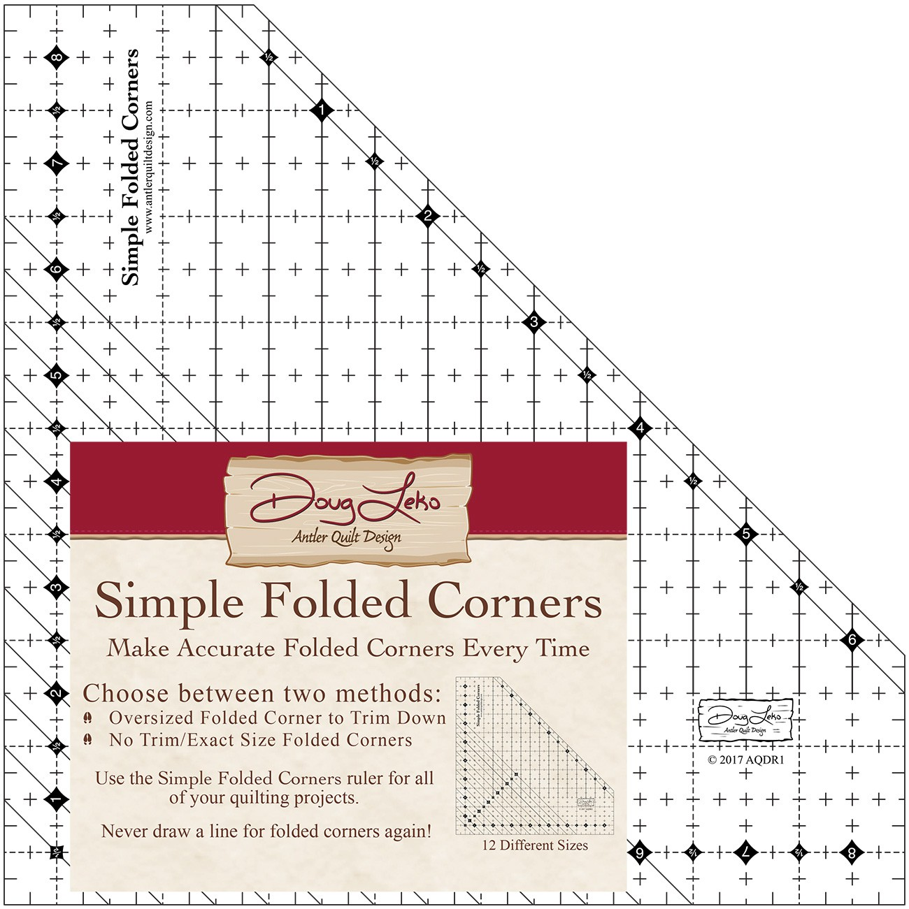 Simple Folded Corners Quilt Ruler
