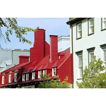 Canvas Print Canada Quebec Red Roofs Houses Old Stretched 10 X 14