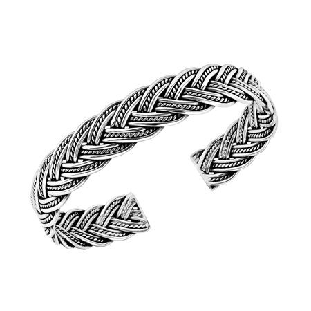 Hill Tribe Silver Circle - Unique Braided Chain Thai Karen Hill Tribe Fine Silver Handmade Cuff Bracelet