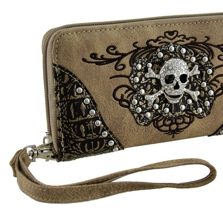 Rhinestone Skull Metallic Trim Wallet w/Removable Wrist Strap