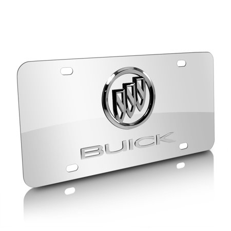 Buick Chrome Logo on Polished Steel License Plate ()