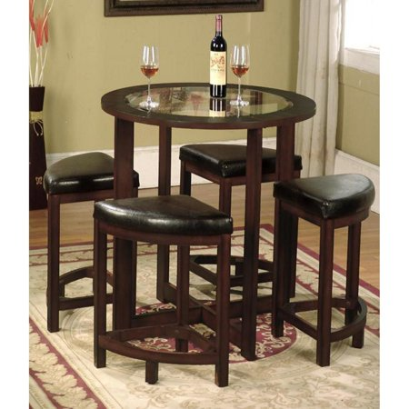 Roundhill Furniture Cylina Solid Wood Glass Top Round Counter Height Table with 4 Stools ()
