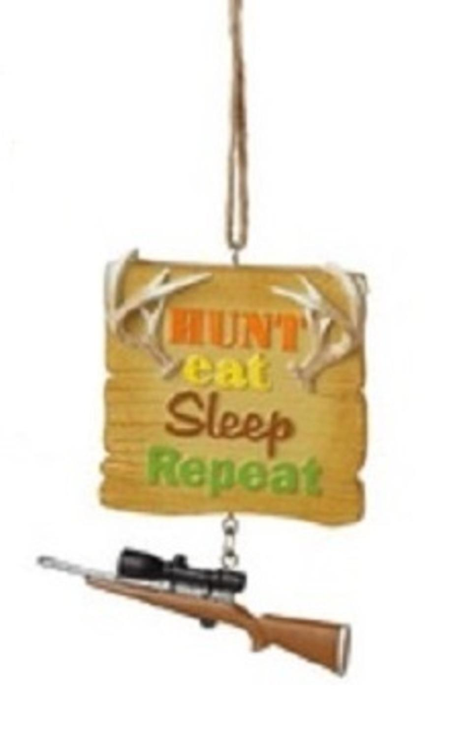 "3.25"" Funny ""Hunt Eat Sleep Repeat"" Quote Plaque Christmas Ornament"