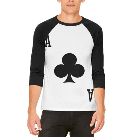 Halloween Ace of Clubs Card Soldier Costume Mens Raglan T Shirt - Club 20 Reading Halloween