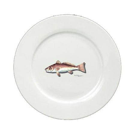 Red Fish Round Ceramic White Salad Plate -