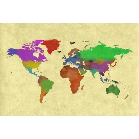 World map painting geography cartography world map continents poster world map painting geography cartography world map continents poster 18x12 inch gumiabroncs Gallery