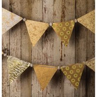 Vintage Pennant Garland Banner (9.5 Feet, Gold Color Story, 12 Large Paper Bunting Flags)