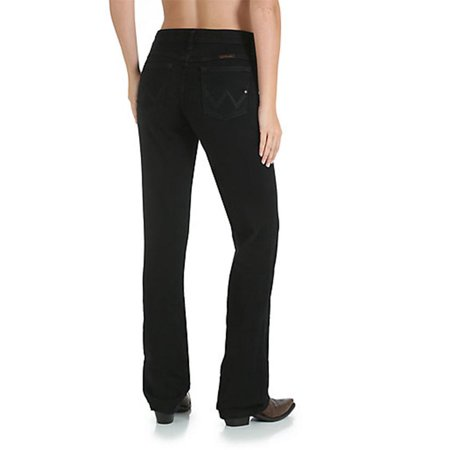 Wrangler Q-Baby Womens Ultimate Riding Jean Mid-Rise Boot Cut - Black Magic ()