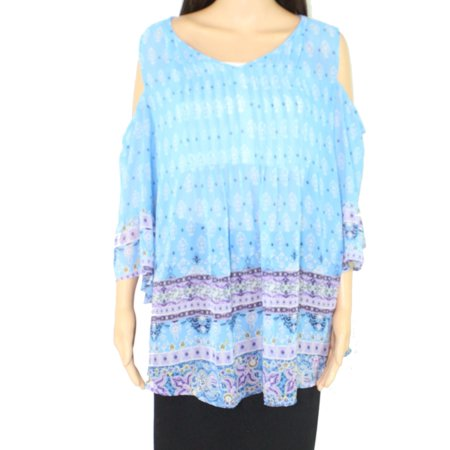 Women's Blouse Blue Plus Border Print V-Neck Pleat $59 2X