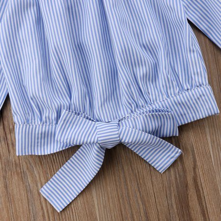Baby Girl Toddler Kids Off-shoulder Tops Clothes Striped Blouse T-shirt - image 1 of 3